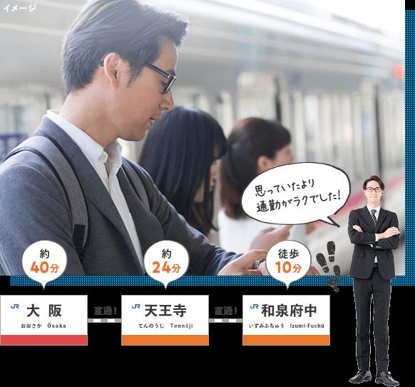 和泉府中駅まで徒歩10分 天王寺まで約24分 大阪まで約40分乗り換えなし